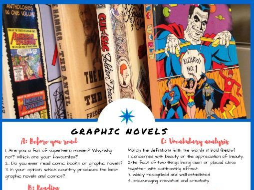 Graphic Novels - English & ESL Reading, Comprehension Check & Vocabulary Review