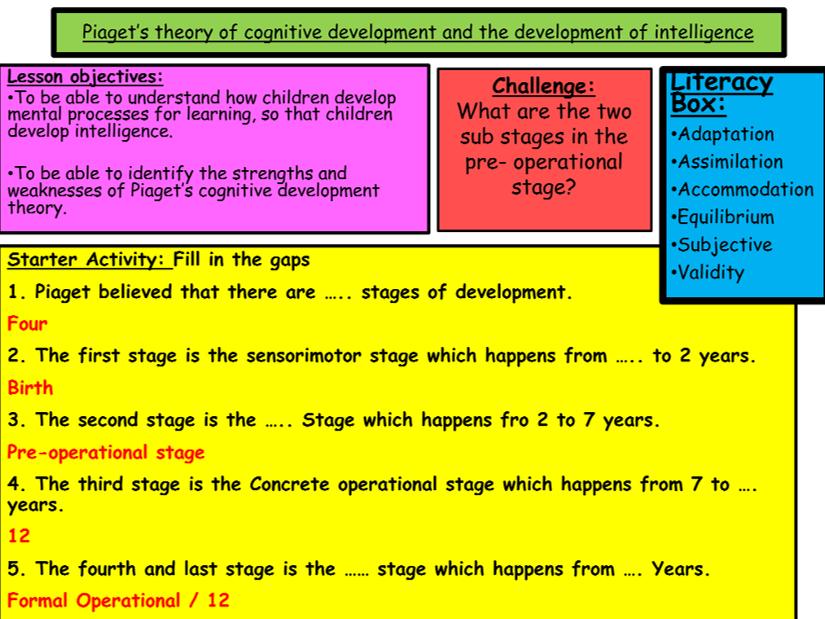 GCSE Edexcel Psychology (9-1): Topic 1: Development, Lesson 4: Piaget's theory of cognitive...