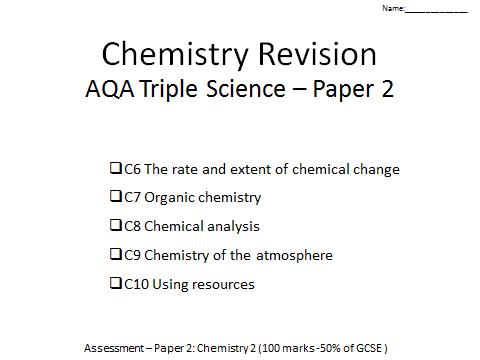 AQA Chemistry GCSE revision paper2