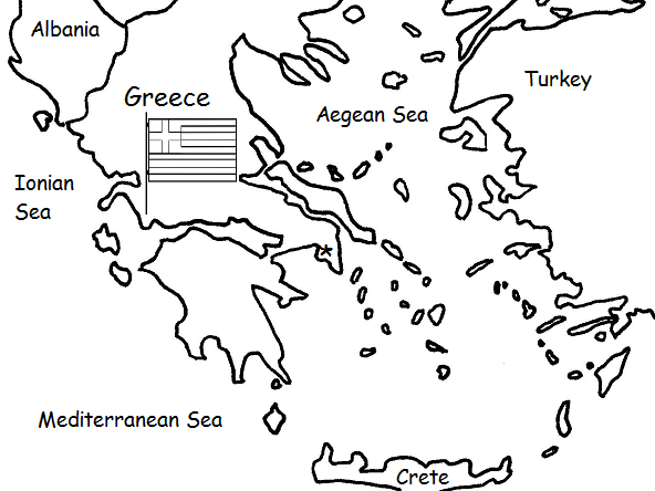GREECE - Printable Handout with Map and Flag