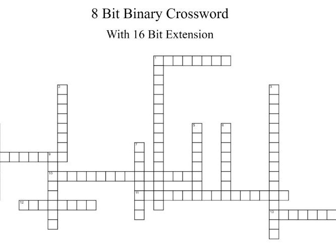 Binary Crosswords - Differentiated versions + answer key.