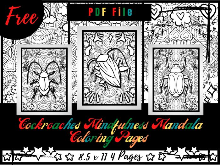 FREE Cockroaches Mindfulness Mandala Coloring Pages, FREE Animals Coloring Printable Sheets PDF