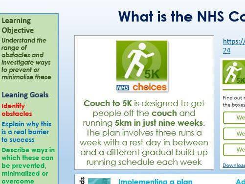 BTEC Tech Award Health and Social Care Component 3 - C2. Obstacles to health plans Activity