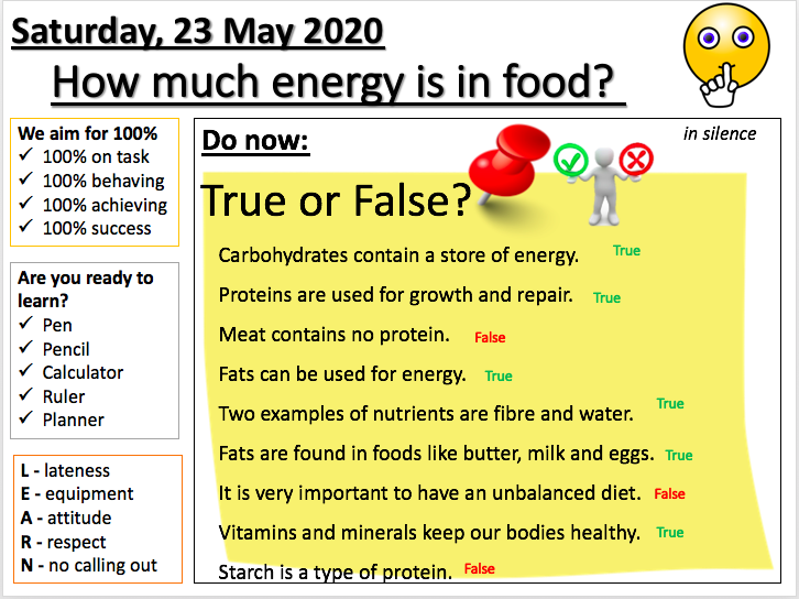 Digestion L2 - Energy in food