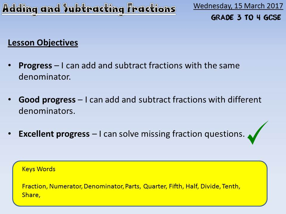 Adding and Subtracting Fractions (9-1 GCSE) differentiated - Box Method - Singapore Maths - Mastery