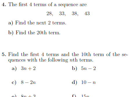 Sequences worksheet (with solutions)