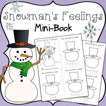 Feelings Mini-Book ~ Draw Snowman's Face & Trace The Words ~ Happy, Sad, Angry