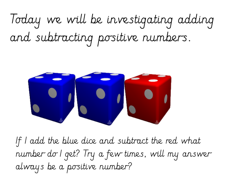 Dice Investigation Adding & Subtracting Three One Digit Numbers to Give Positive & Negative Answer