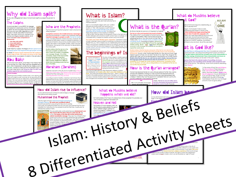 Islam: History and Beliefs Unit: Information and Tasks Bundle
