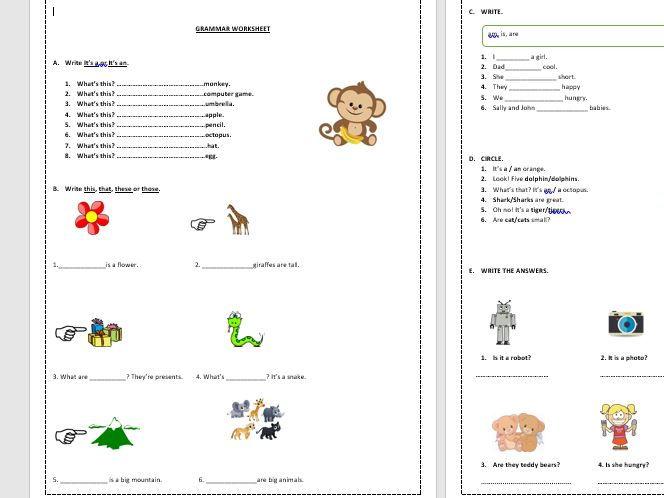 """Beginners grammar worksheet (a/an, plural/singular, verb """"to be"""", demonstrative pronouns)"""