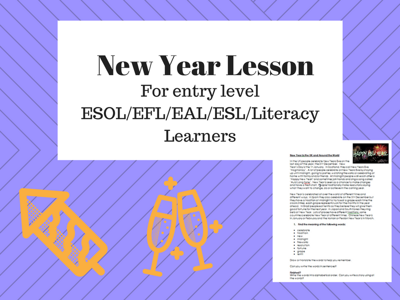 New Year ESOL/EFL/ESL/Literacy Lesson including comprehension, presentation and activities