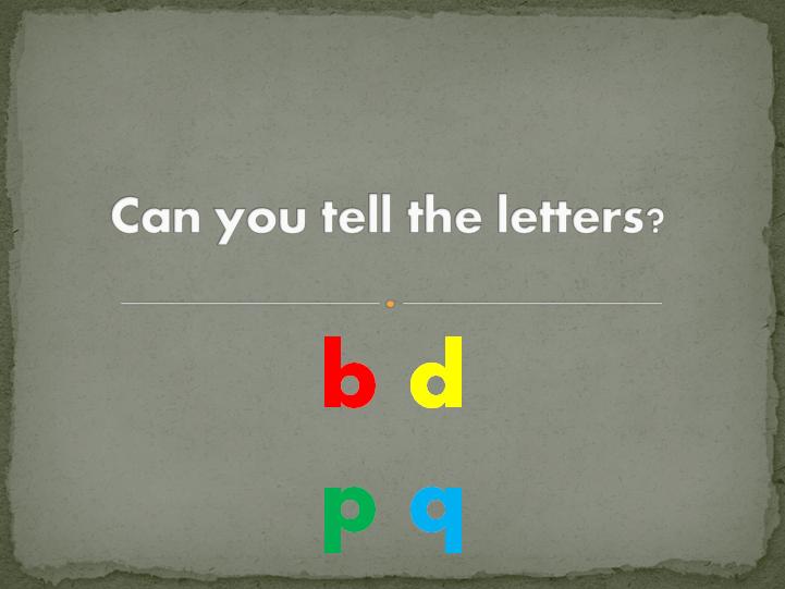 Letter recognition: b d p q