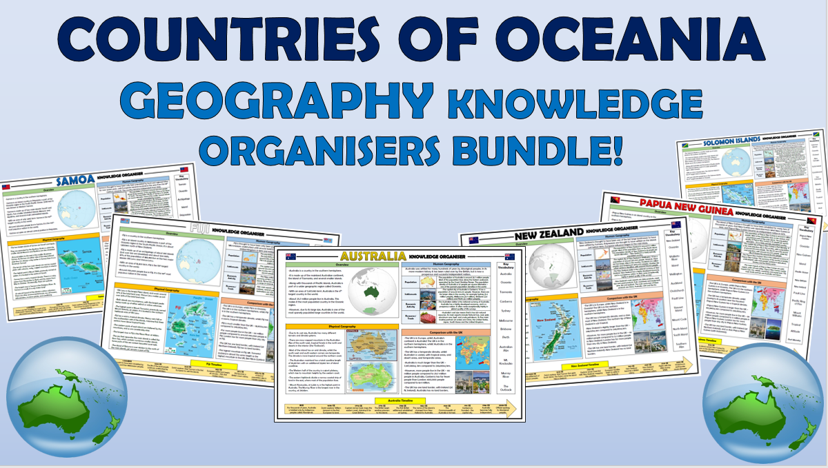Countries of Oceania Knowledge Organisers Bundle!