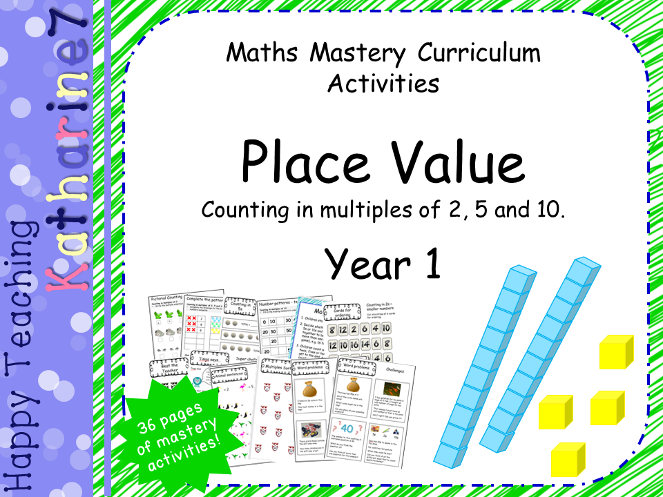 Place Value mastery materials - Year 1 - counting in 2s 5s and 10s