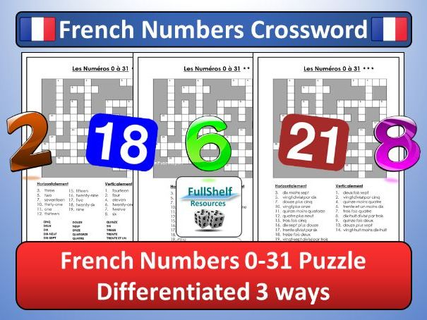 French Numbers Crossword