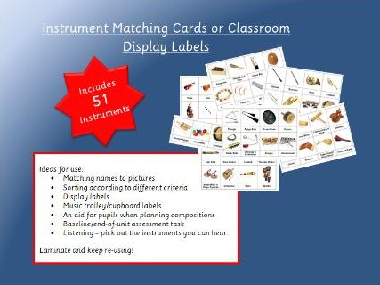 Instrument Matching Cards or Music Display / Organisational Labels