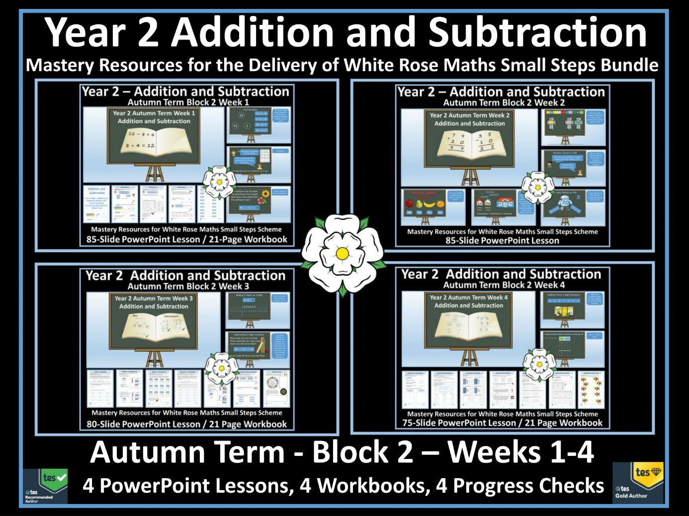 Addition and Subtraction:  Year 2 - Bundle of 4 Workbooks, 4 PowerPoint Lessons and 4 Progress Checks for White Rose Small Steps - Year 2 - Block 2 - Autumn Term