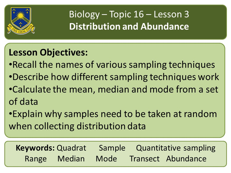 New AQA 2016 Biology Chapter 16 lesson 3: distribution and abundance