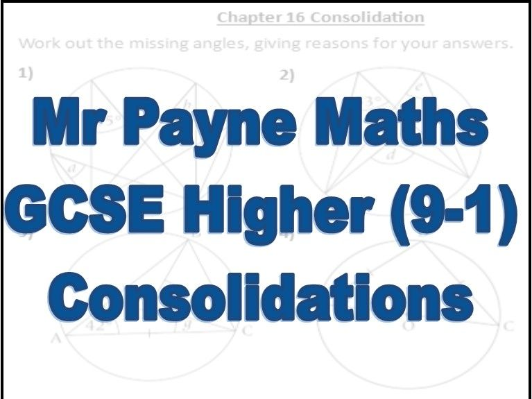 Revision Worksheets for GCSE Maths 9-1 Higher Pearson Textbook (Chapters 9-19) - With Answers
