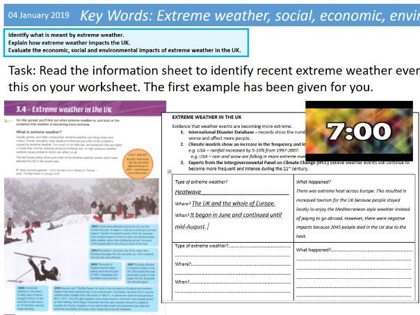 ENTIRE UNIT- KS4 Geography- Weather Hazards and Climate Change