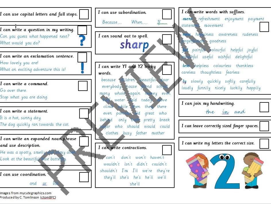 Year 2 self-assessment writing checlists