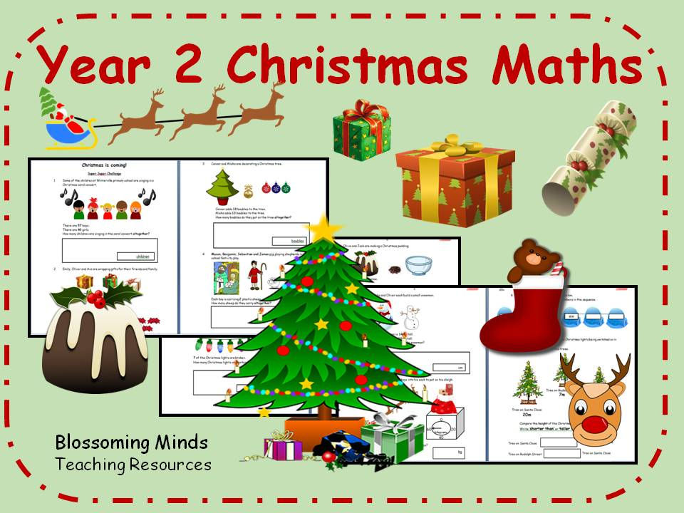 Year 2 Christmas Maths - all topics - differentiated levels