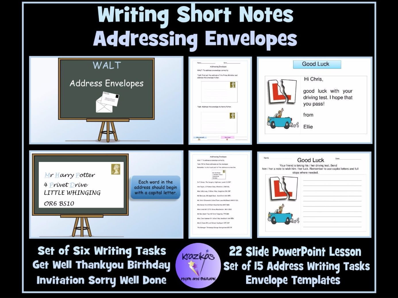 Functional Skills For SEN Students: Addressing Envelopes and Note Writing - PowerPoint Lesson and Worksheets