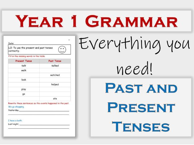 FREE Past and Present Tenses Year 1 Grammar Lesson