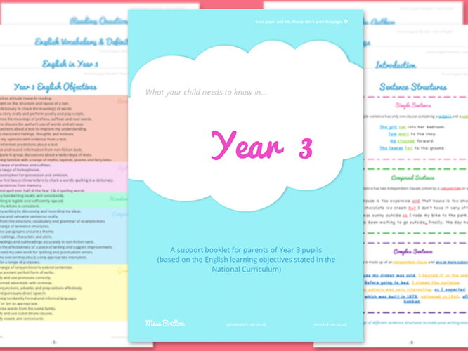 Year 3 Parent Support Booklet - English