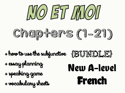 NO et MOI - Etude des chapitres 1 à 21 + speaking game, essay planing and how to use subjunctive in an essay offered