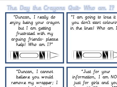 The Day the Crayons Quit Inference Matching Lesson- Who am I?