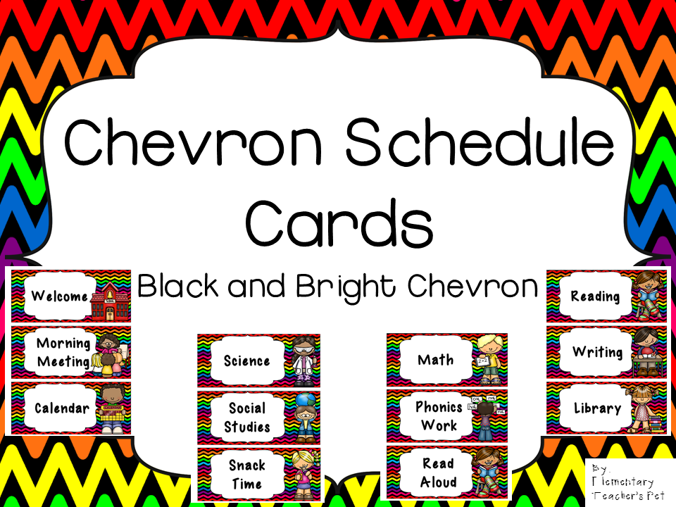 Daily Schedule Cards-Black and Bright Chevron