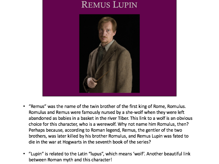 Harry Potter characters and their links to classical (Roman & Greek) mythology