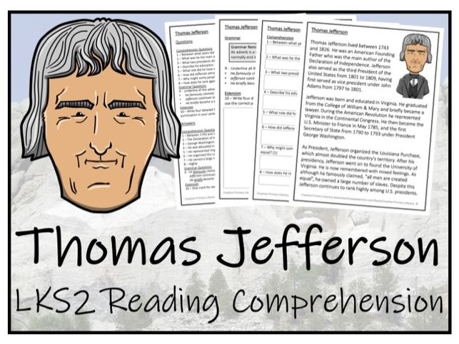 LKS2 Thomas Jefferson Reading Comprehension Activity