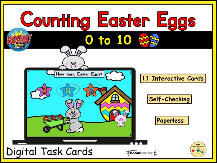 Counting Easter Eggs to 10  Spring BOOM Cards™ Distance Home Learning