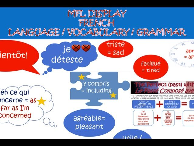 MFL FRENCH language and grammar display classroom aids printouts