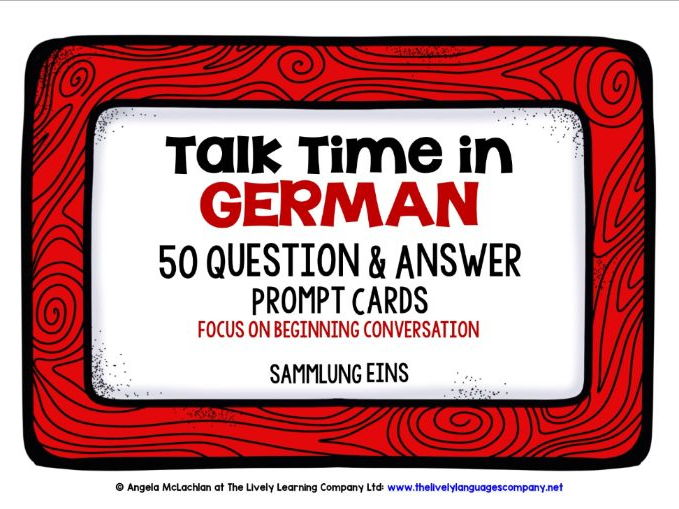 GERMAN SPEAKING PROMPTS (1) - 100 CARDS & REFERENCE BOOKLET