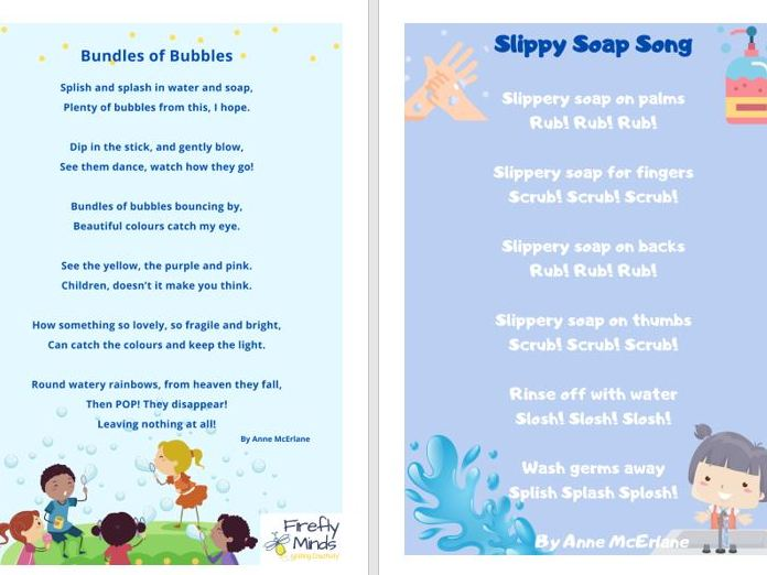 Slippy Soap Song & Bubbles Poem - Covid 19 Posters