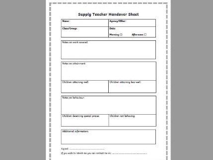 Supply Handover Sheet