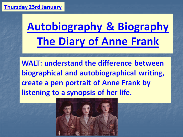 Anne Frank ~ A set of SIX COMPLETE lessons to accompany the BBC1 DVD televised series