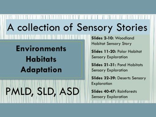 Collection of 5 Sensory Stories - Science, Literacy - Environments and Habitats -SEN- PMLD, SLD, ASD
