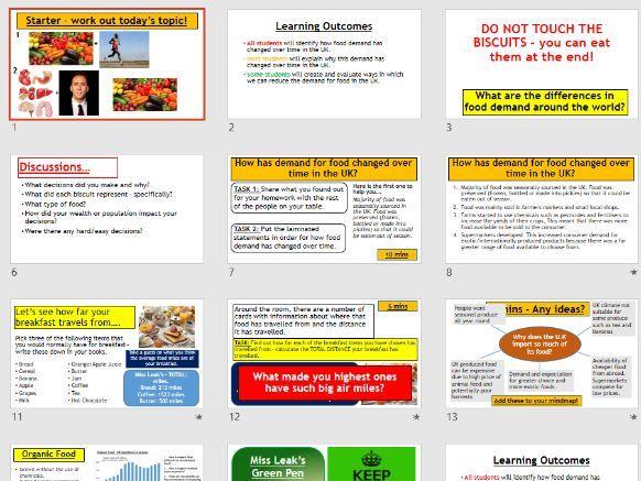 AQA GCSE RESOURCE MANAGEMENT - UK Food Consumption (Complete Lesson)