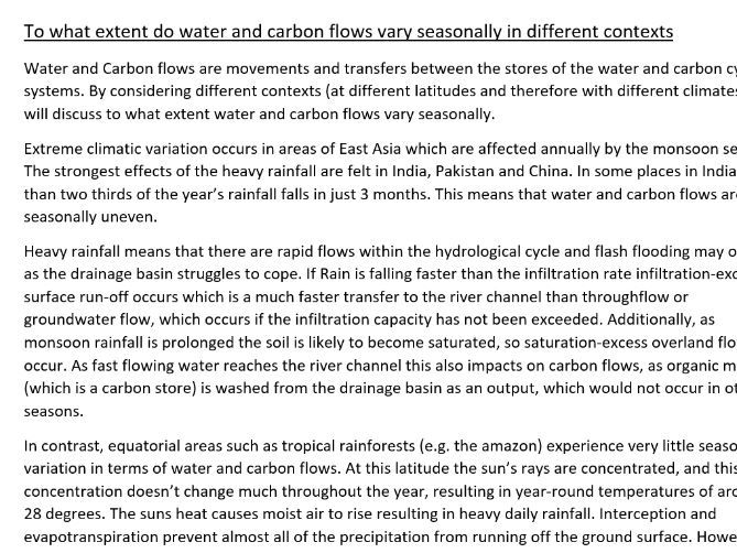 Eduqas A level Geography model answer- Water and Carbon cycles