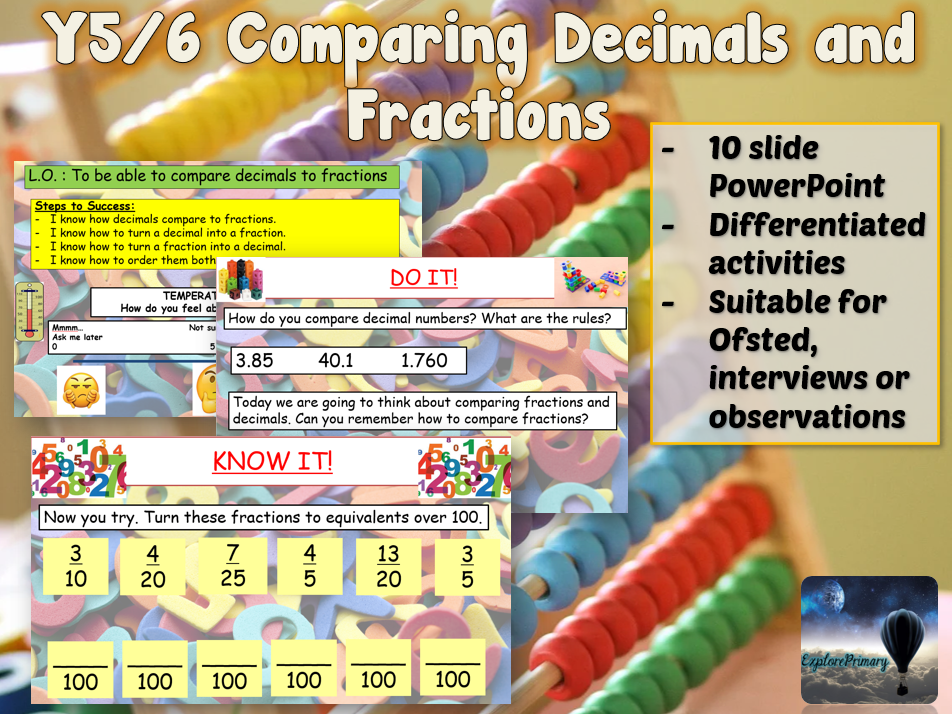 Outstanding Y5 / Y6 Comparing Decimals to Fractions Maths Lesson