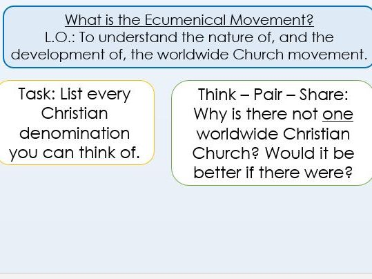Ecumenical Movement A Level 2 lessons