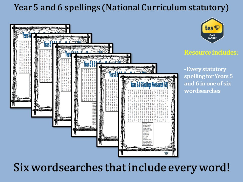 Year 5 & 6 National Curriculum spellings wordsearches