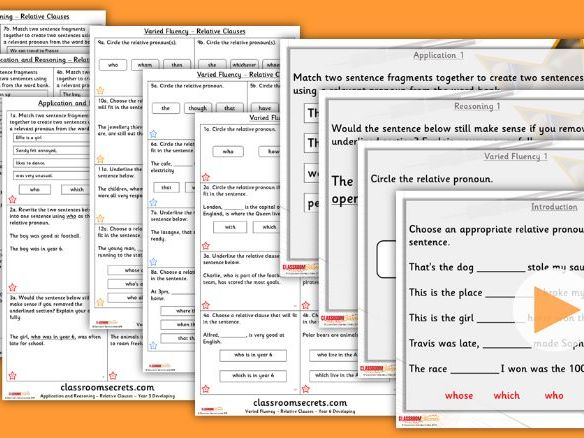 FREE Grammar Year 6 Relative Clauses Autumn Block 1 Step 1 Lesson Pack