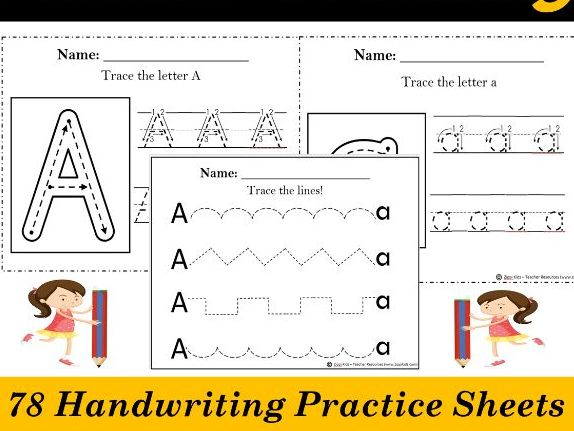 Alphabet Tracing, Letter Handwriting Practice Worksheets -78 Printable