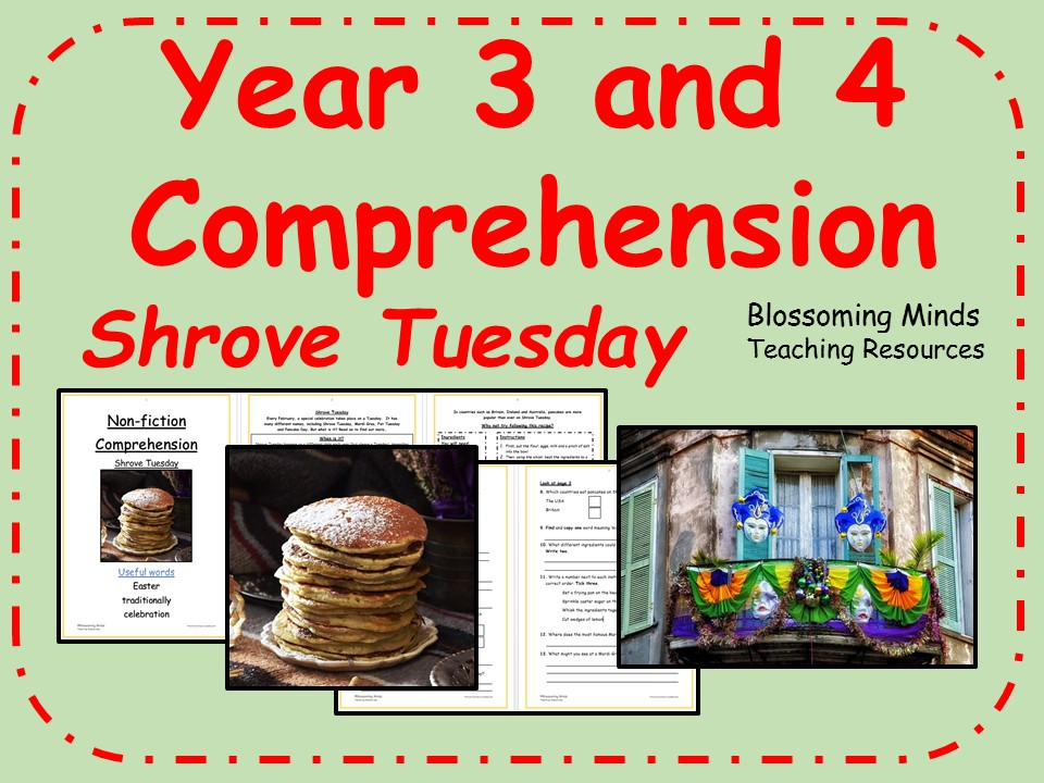 Year 3 and 4 (KS2) Reading Comprehension - Shrove Tuesday (Pancake Day)