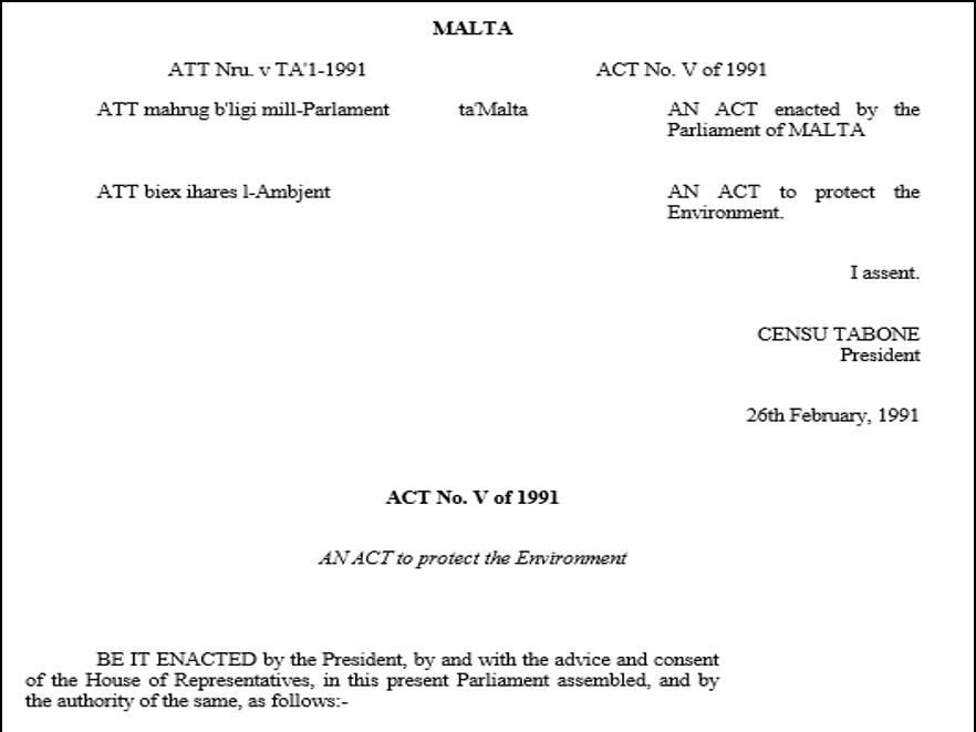 Akta Perlindungan Alam Sekitar, 1991 (Environmental Protection Act, 1991 - Act No. V of 1991)